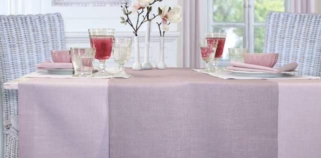 Tischdecken und Tischlaeufer rosa