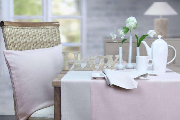 Tischläufer Sander mit Fleckschutz rosa und beige