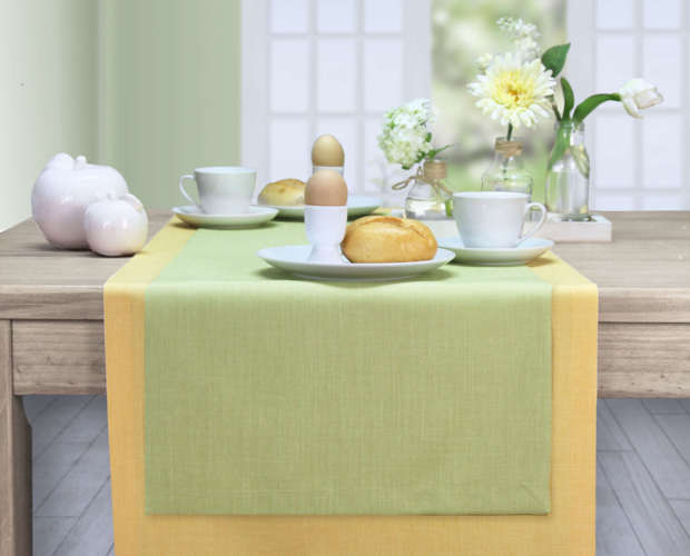 Tischläufer mit Fleckschutz gelb und grün