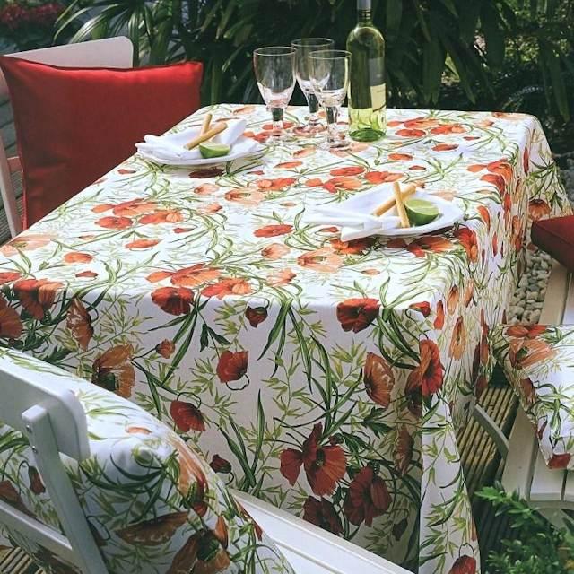 abwaschbare Tischdecke Mohnblumen Blumenmuster