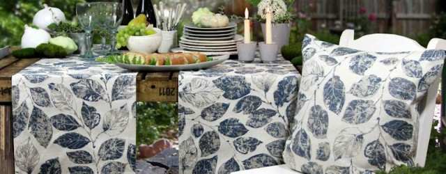 Jacquard Tischläufer blau