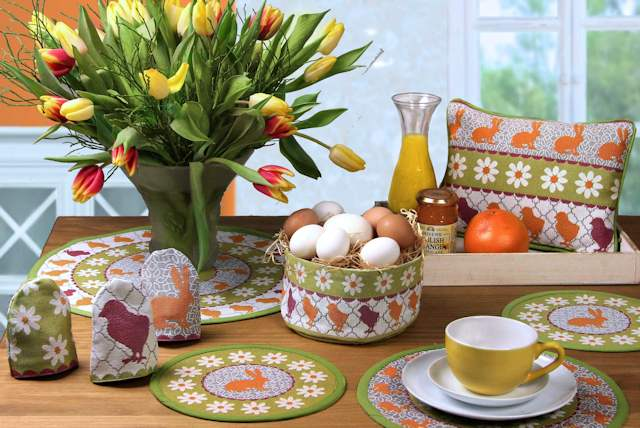 Runde Tischsets, Deckchen und Osterkorb OSTERFEST