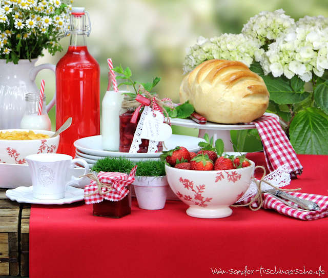 Sonntagsbrunch mit roter Gartentischdecke