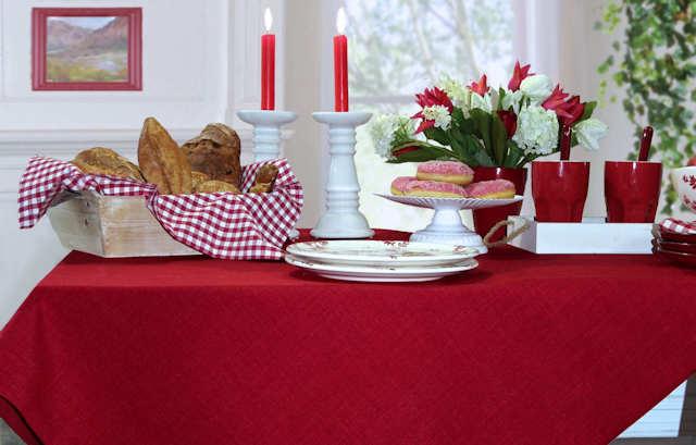 Rote Sander Tischdecke