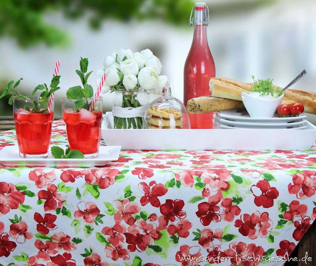 Gartentischdecke rot gemustert