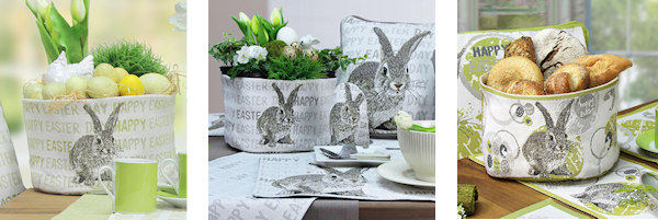 Praktische Tischkörbe für Ostern aus Stoff - als Osterester, Osterkörbe oder Tischdeko