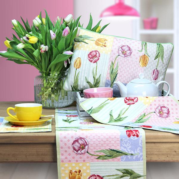 Osterkissen Tulpen,Tischäufer Tulpen, Tischsets Tulpen,