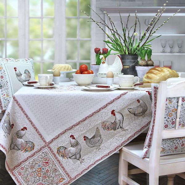 Quadratische Tischdecke Jacqaurd Landhaus Ostern