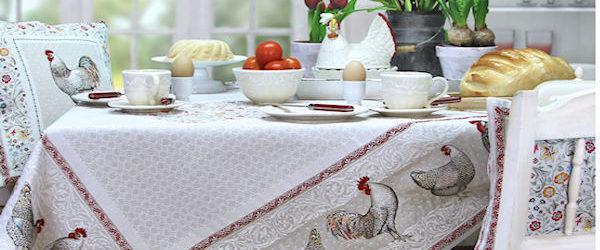 Tischdecke Ostern Jacquard Motiv Hahn Hühner