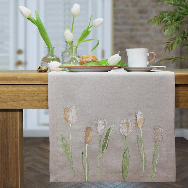 bestickter Tischäufer Tulpen