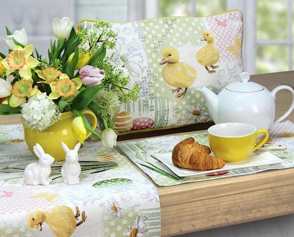 Ostertischsets mit Osterkissen und Tischläufer Ostern mit Entenmotiv