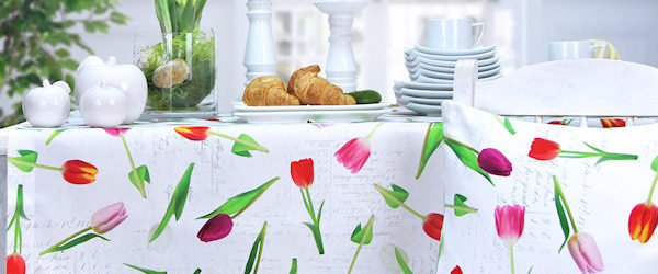 Frühlingstischdecke mit Tulpenmuster
