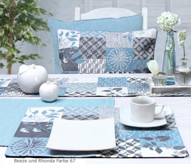 blaue Tischsets Gobelin, Gobelinkissen blau