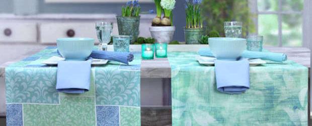 hellgrüne Tischläufer mit hellblau und aqua