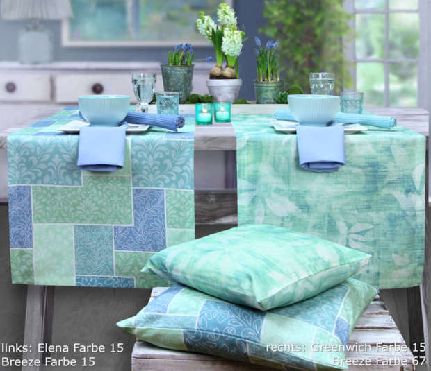 hellgrün und hellblau: Tischläufer und Kissen