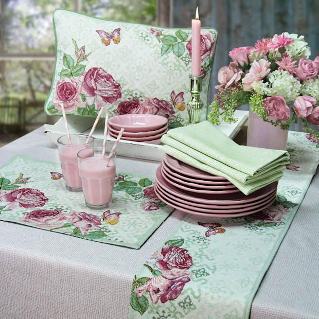 Sander Gobelin Tischsets rosa Rosen mit Kissen und Tischläufer