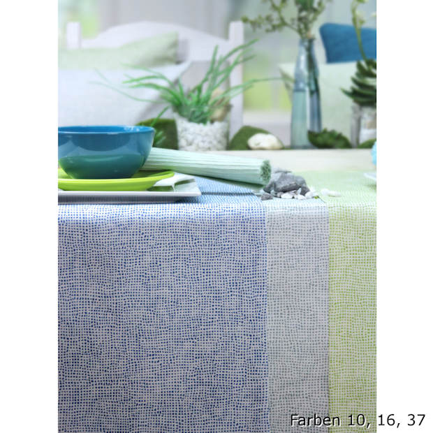 blaue und grüne Tischdecken