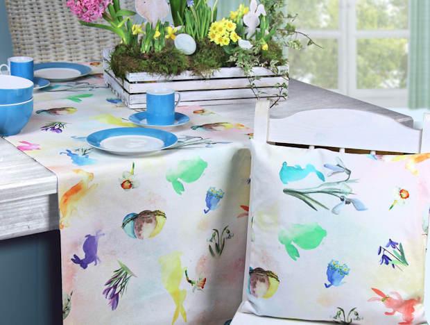 Tischläufer und Kissen Ostern und passende Ostertischdecke