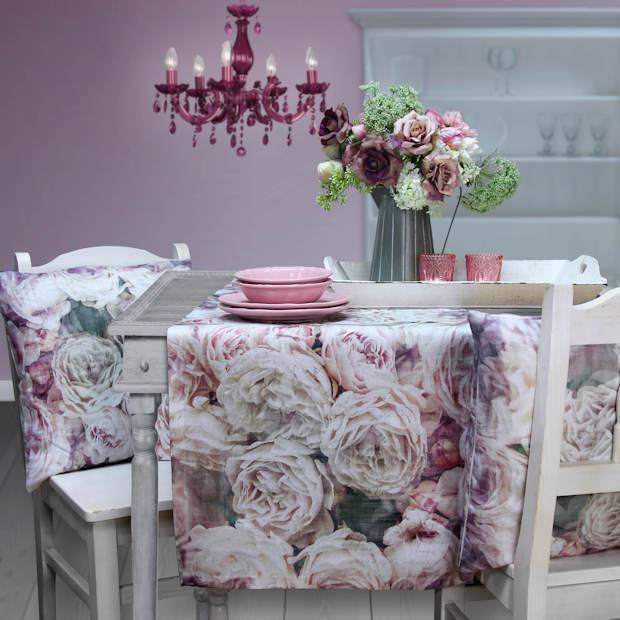 Tischkäufer Leinen mit Rosenmuster