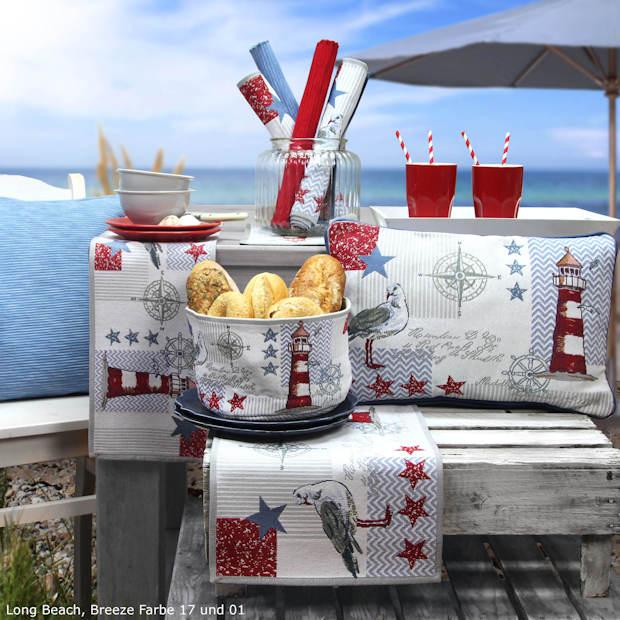Gobelin Tischsets, Tischläufer und Kissen für den maritim gedeckten Tisch