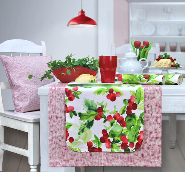 Sander tischdecke rot mit Tischset Kirschen