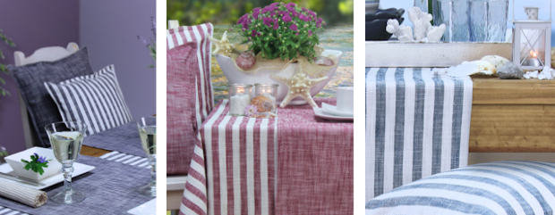 Skandinavischer Look: Tischläufer und Kissen mit Streifen in 100% Baumwolle