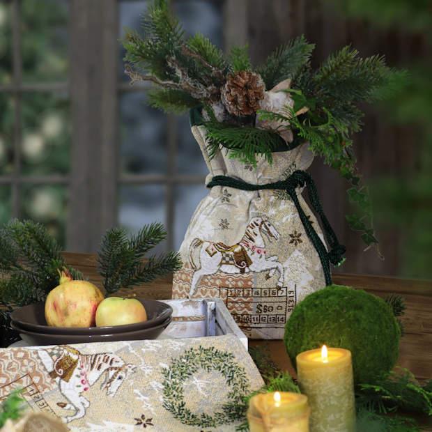 Gobelin Stoffsäckchen Weihnachtsmotiv