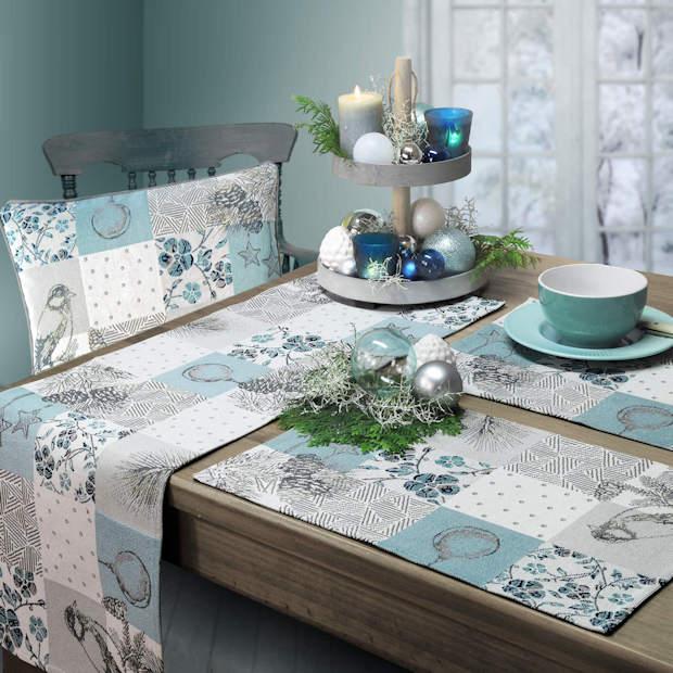 blauer Tischläufer Weihnachten, blaues Kissen Weihnachten, blaue Tischsets Weihnachten