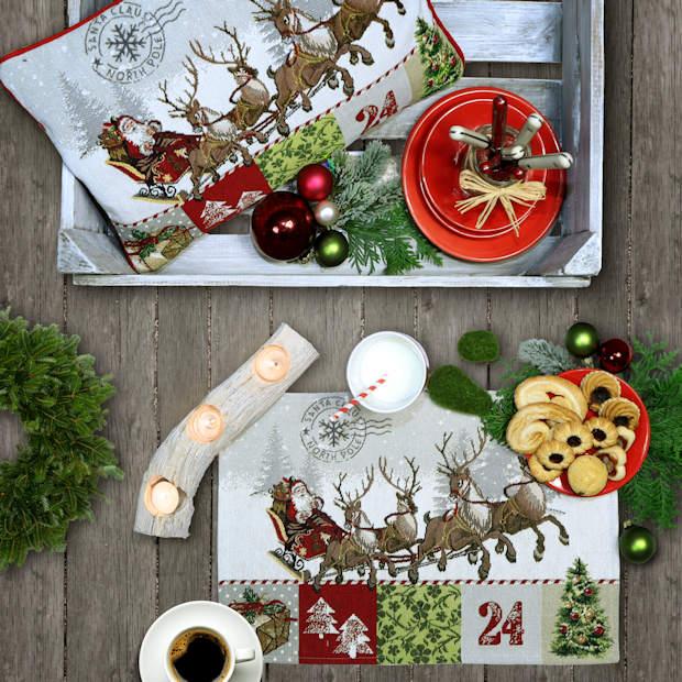 Gobelin Tischsets Weihnachten rot