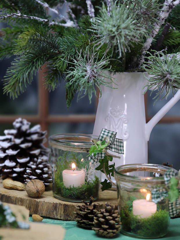 Tischdekoration Moos Weihnachten