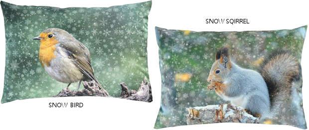 Kissen Vogel und Kissen Eichhörnchen für Weihnachten