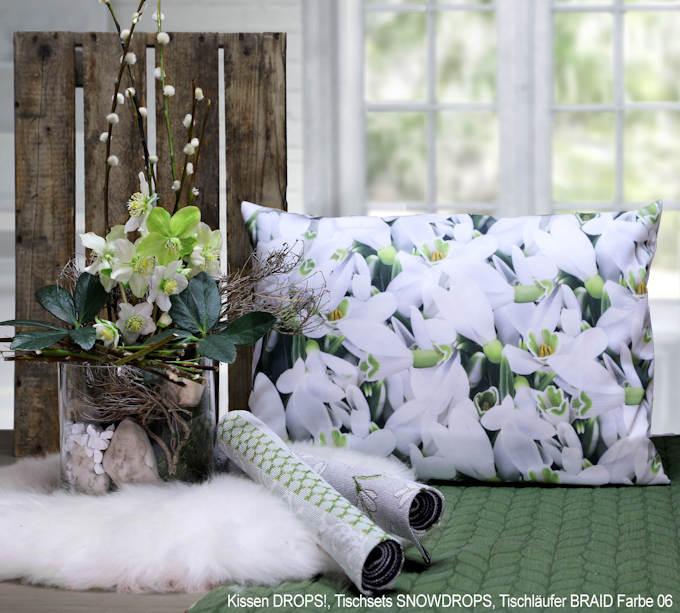 Kissen mit Druck Schneeglöckchen Sander