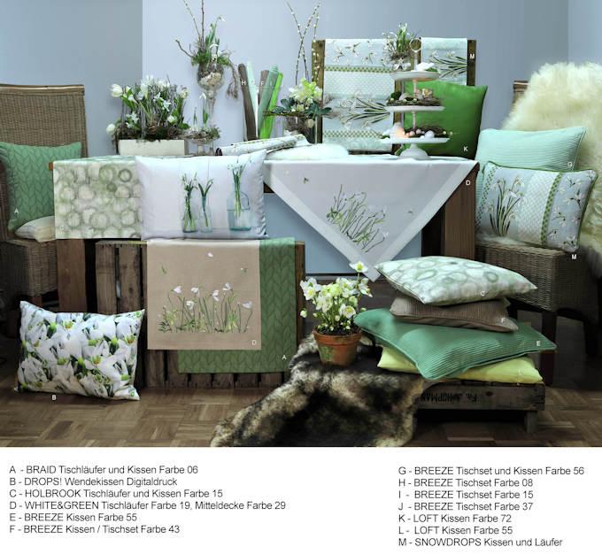 Winterdeko mit Schneeglöckchen und Christrose, Tischläufer, Tischdecken und Kissen