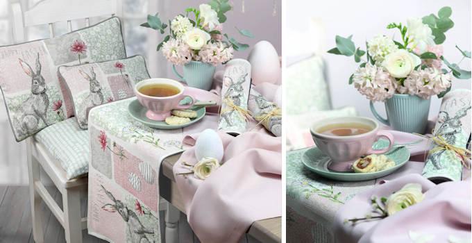 Ostern Tischsets und Tischdecke rosa