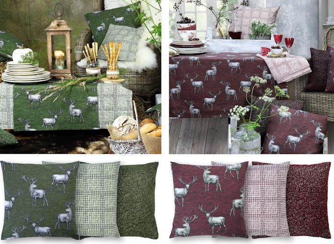 grüne und rote Tischdecken und Kissen mit Hirschen