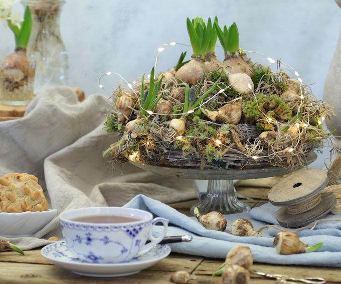 Kranz mit Moos und Blumenzwiebeln Frühlingsdeko