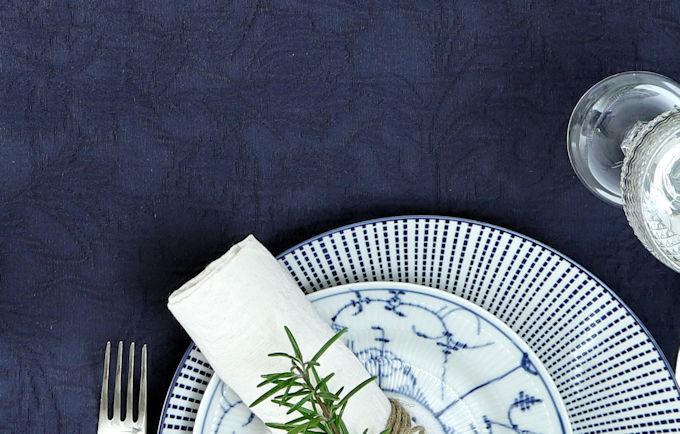 Tischdecke Baumwolle blau