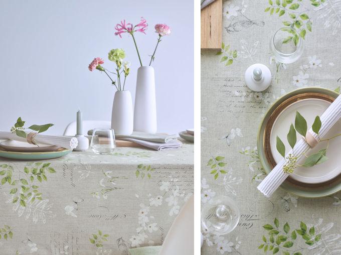 Tischdecke Frühling mit Schneeglöckchen und Magnolien