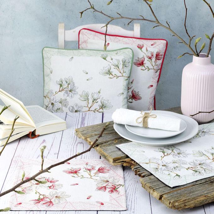 Frühlingsmuster: Gobelin Tischstes, Gobelin Kissen und Tischläufer