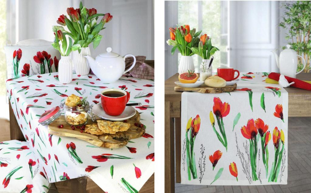 Tischdecke und Tischläufer Tulpen