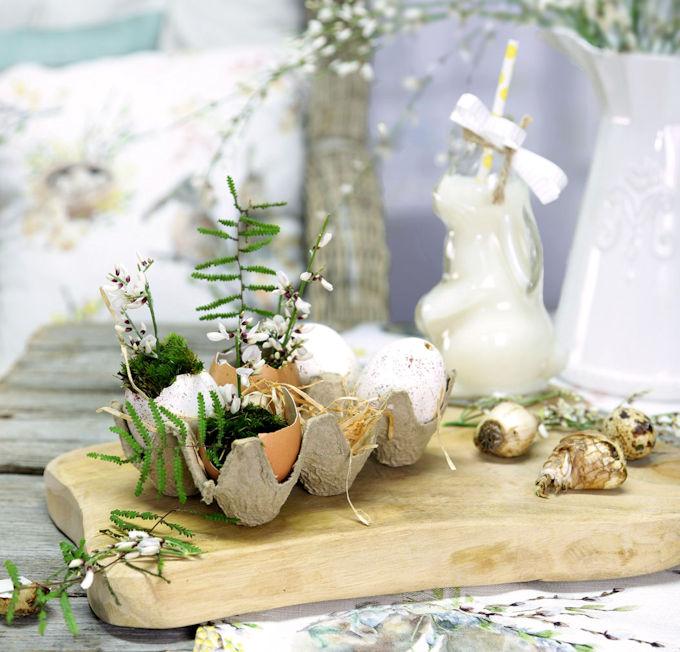 Bepflanzte Ostereier im Eierkarton