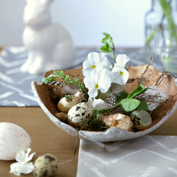 DIY Osternest aus Beton mit Kupfer