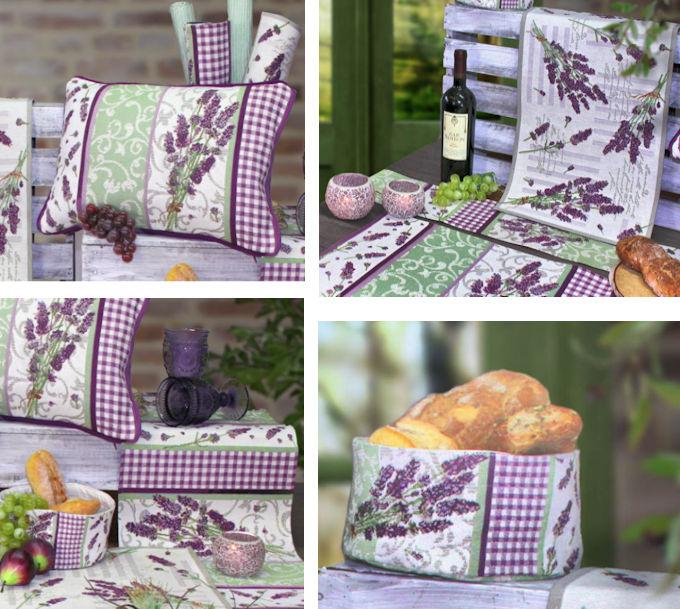 Gobelin Tischsets und Tischläufer, Kissen und Brotkorb Lavendel