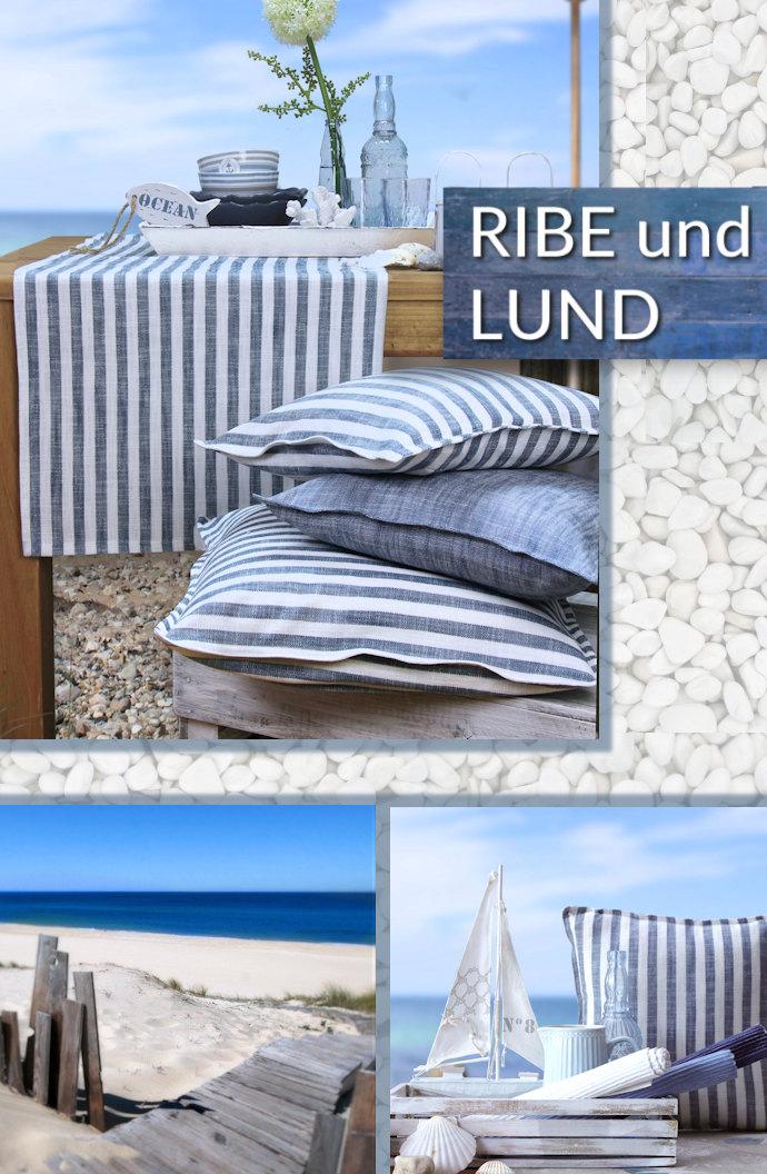 blau weiß gestreifte Tischläufer und Kissen im Skandi Look