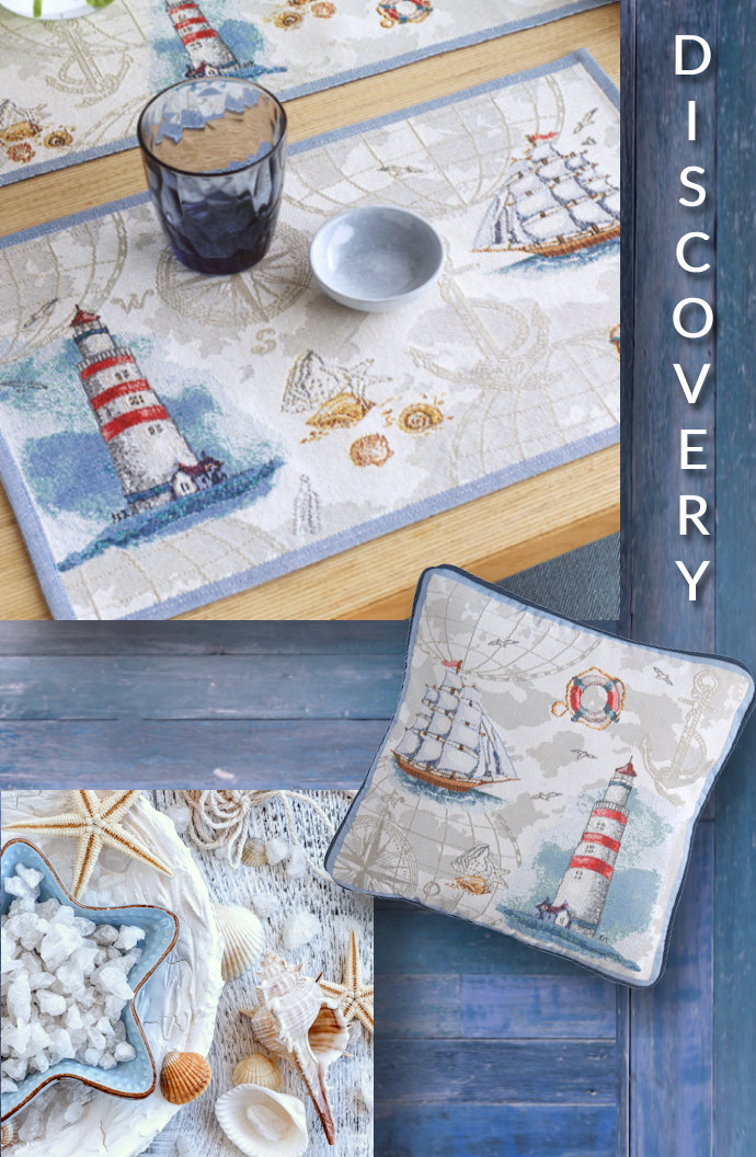 Kissen und Tischsets mit Motiv Segelschiff und Leuchtturm