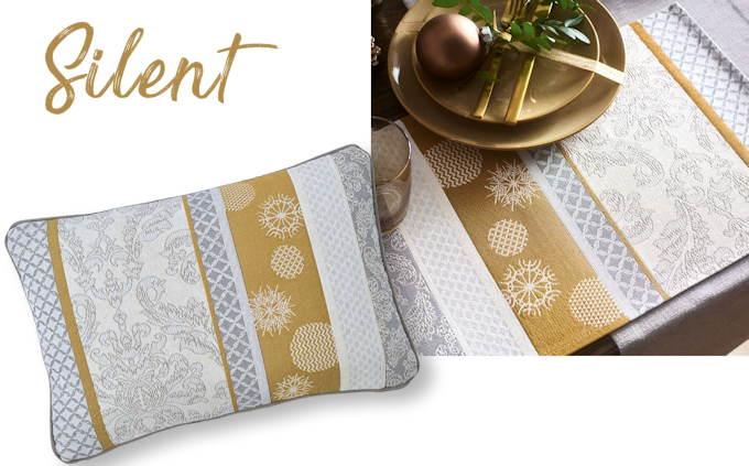Weihnachtskissen und Wehnachtstischsets gold