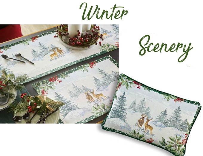 Tischsets und Kissen Weihnachten Winter Scenery