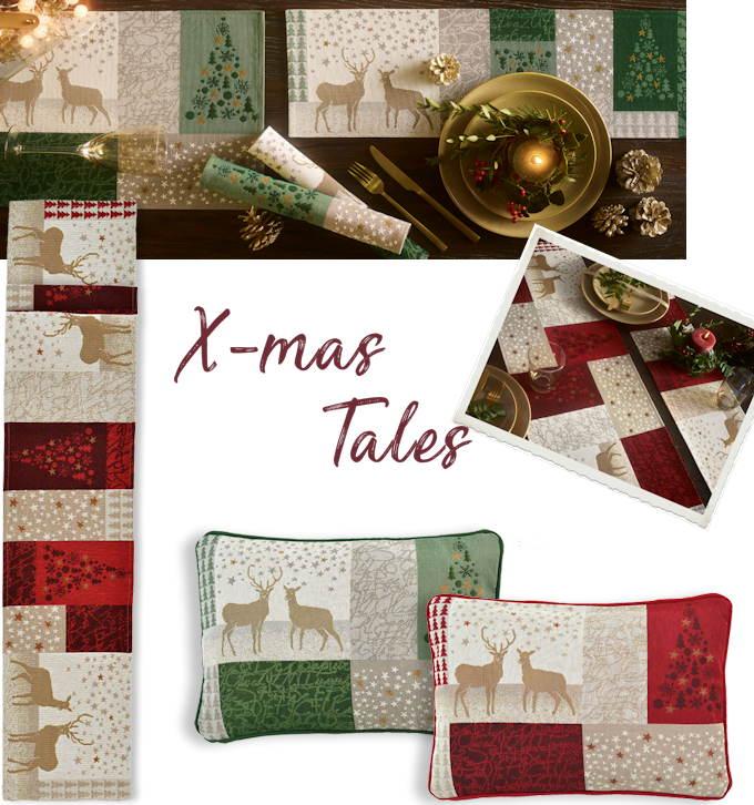 Tischläufer Weihnachten grün und rot