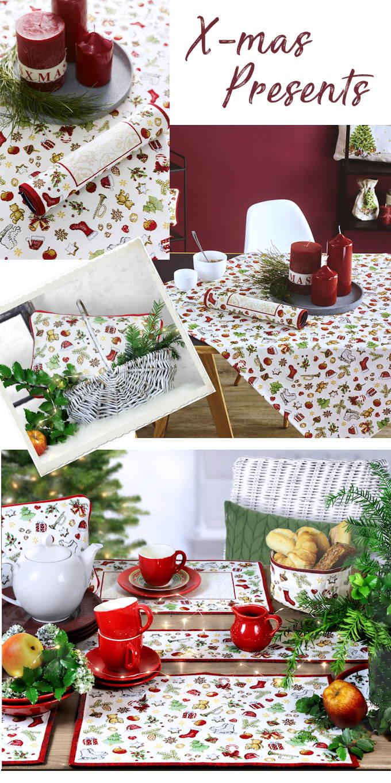 Gobelin Platzsets, Weihnachtstischläufer und Kissen zu Weihnachten