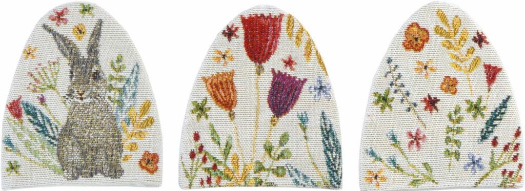 Eierwärmer mit Blumen und Osterhase HAPPY BUNNY von Sander